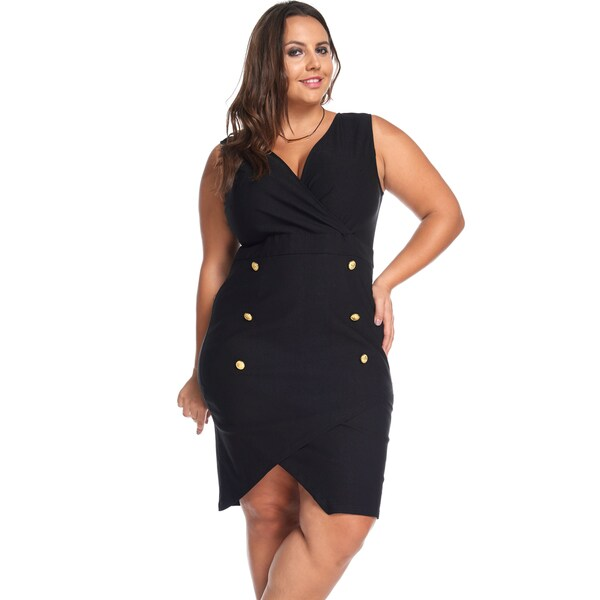 Hadari Women's Plus Size Sexy Slimming Black Button Party Evening Short Dress