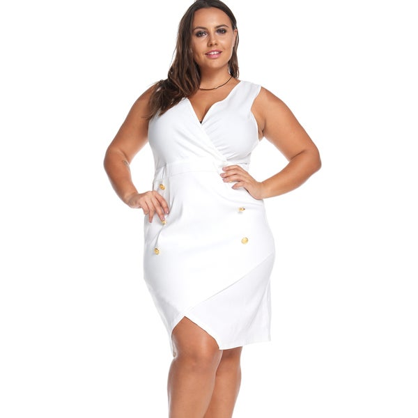Hadari Women's Plus Size Sexy Slimming White Button Party Evening Short Dress
