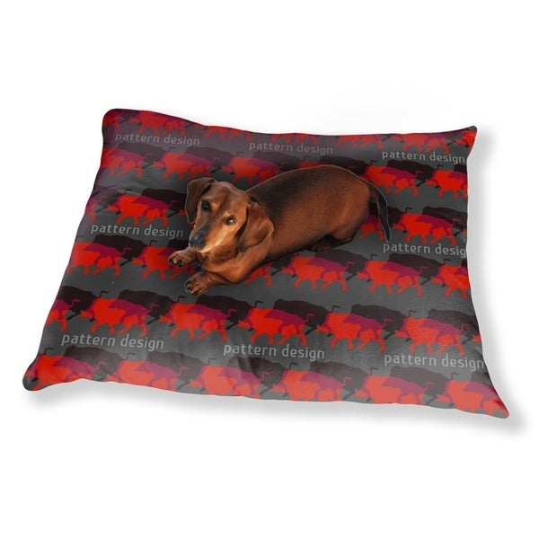 Wild Boar In Red Dog Pillow Luxury Dog / Cat Pet Bed