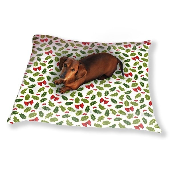 Holly Christmas Dog Pillow Luxury Dog / Cat Pet Bed