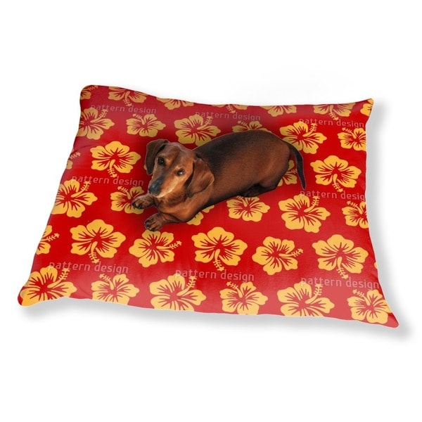 Hibiscus Greetings From Hawaii Dog Pillow Luxury Dog / Cat Pet Bed