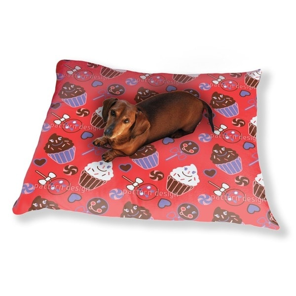Happy Desserts Red Dog Pillow Luxury Dog / Cat Pet Bed