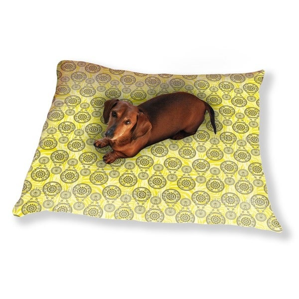Mehndi Yellow Dog Pillow Luxury Dog / Cat Pet Bed