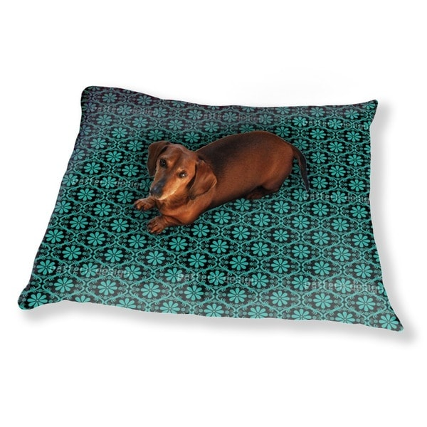 All Over Turquoise Flowers Dog Pillow Luxury Dog / Cat Pet Bed
