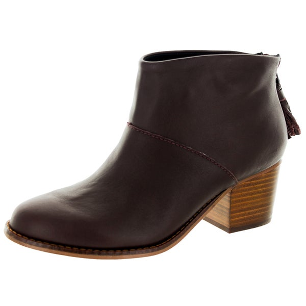 Toms Women's Leila Oxblood Leather and Sued Boots