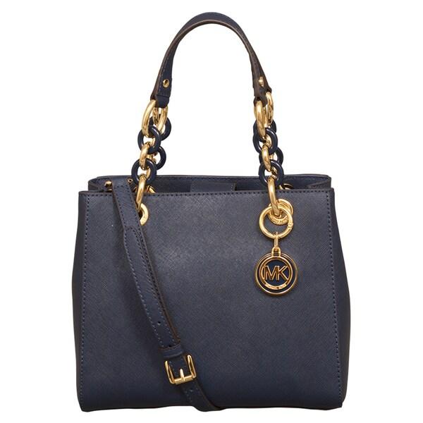 Michael Kors Cynthia Small Navy North/South Satchel Handbag