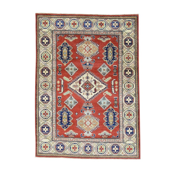 Tribal And Geometric Design Red Kazak Hand-Knotted Carpet (4'10x6'9) 22246154