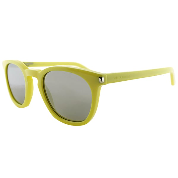 Saint Laurent SL 28 BH BHC Electric Yellow Plastic Square Silver Mirror Lens Sunglasses