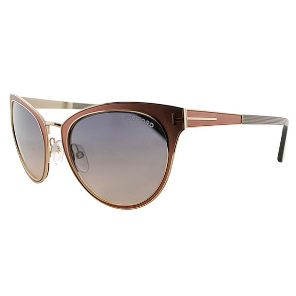 Tom Ford TF 373 74B Nina Pink Gold Metal Cat-Eye Grey Gradient Lens Sunglasses