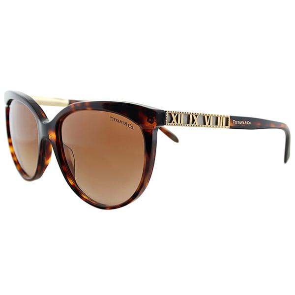 Tiffany TF 4097 80023B Havana Plastic Round Brown Gradient Lens Sunglasses