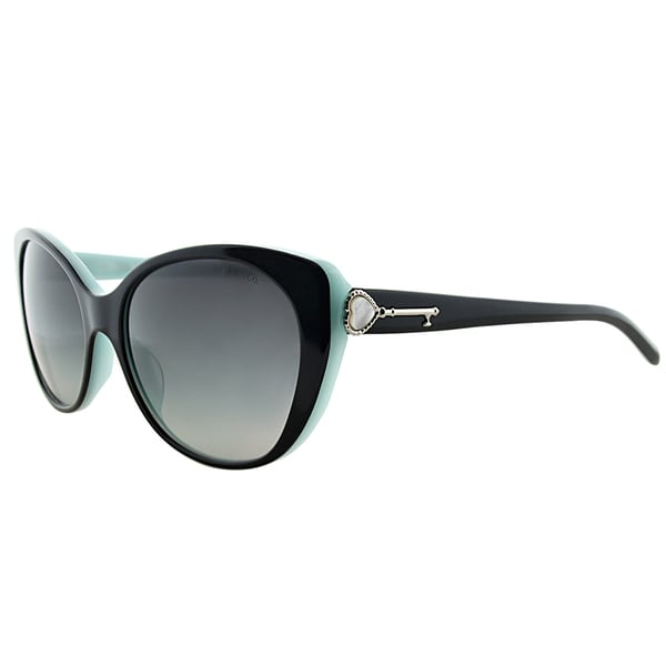 Tiffany TF 4099H 80553C Black on Tiffany Blue Plastic Cat-Eye Grey Gradient Lens Sunglasses