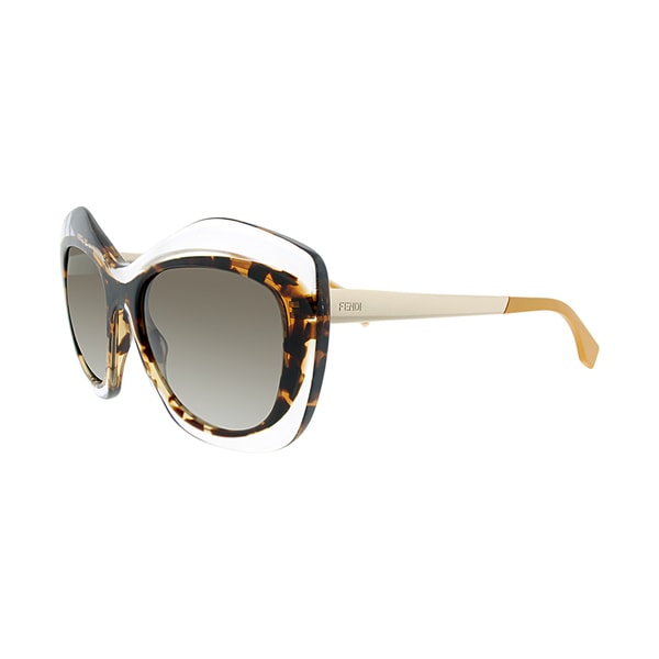 Fendi FF 0029 7NQ HA Crystal Havana Plastic Fashion Brown Gradient Lens Sunglasses