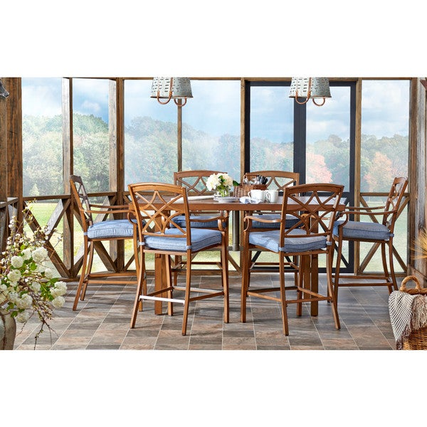 Trisha Yearwood Outdoor High Dining Set in Demo Denim