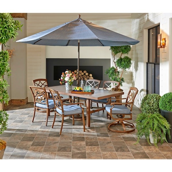 Trisha Yearwood Outdoor Dining Set in Demo Denim with 9 ft. Umbrella