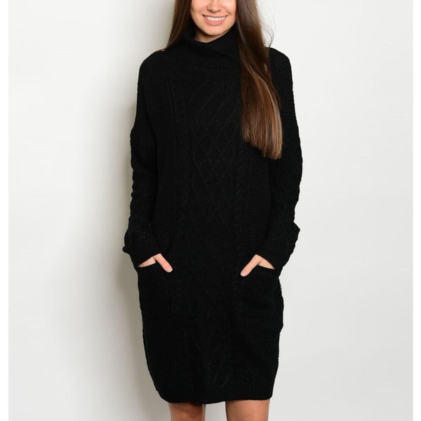 JED Women's Long-sleeve Cable-knit Turtleneck Pocketed Sweater Dress