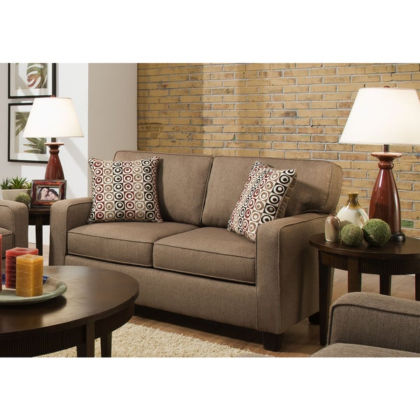 Sofab Riley Beige Love Seat With Accent Pillows