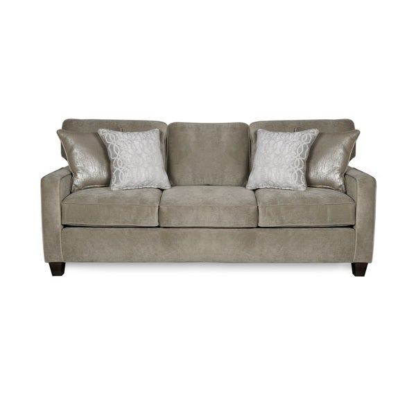 Cora Platinum Three Seat Sofa With Four Reversible Accent Pillows