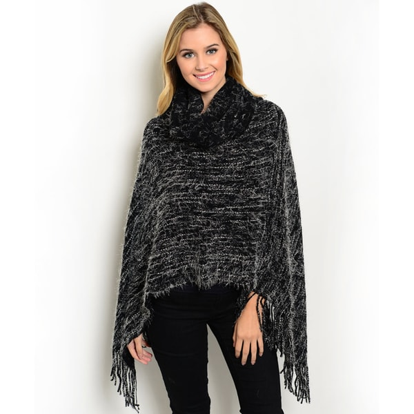 Shop The Trends Women's Black Acrylic Heather Knit Poncho with Chunky Turtleneck