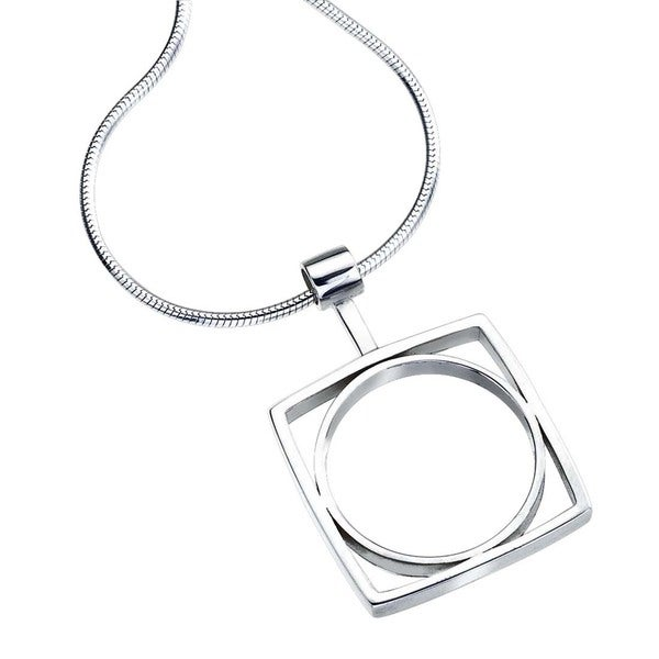 Ever One Sterling Silver Large Square Circle Pendant