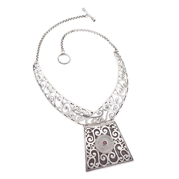 Ever One Oxidized Sterling Silver and Garnet Collar Necklace 22254427
