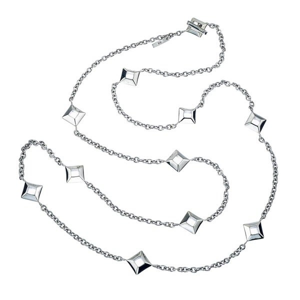 Sterling Silver Square Charm 36-inch Necklace