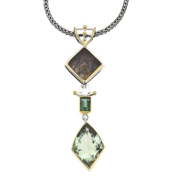 Ever One Silver Green Amethyst Gem Pendant
