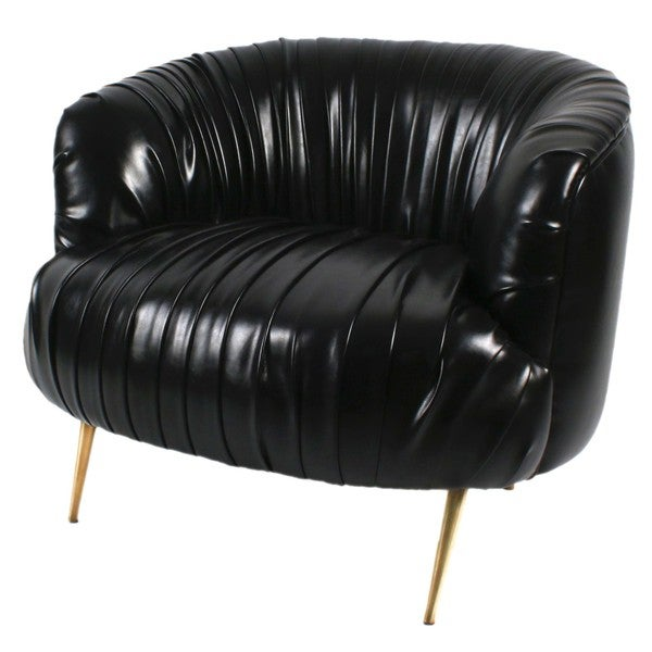 Alma Black Faux Leather Accent Chair with Gold Legs
