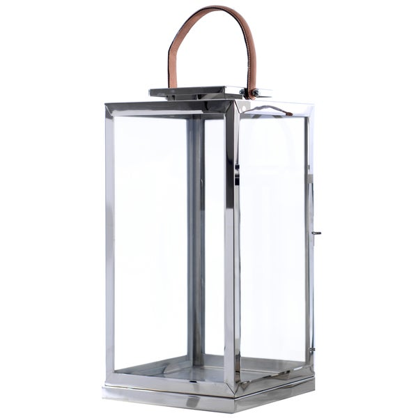 Amalfitana Cupola Stainless Steel Glass Leather Handle Candle Holder 22254955