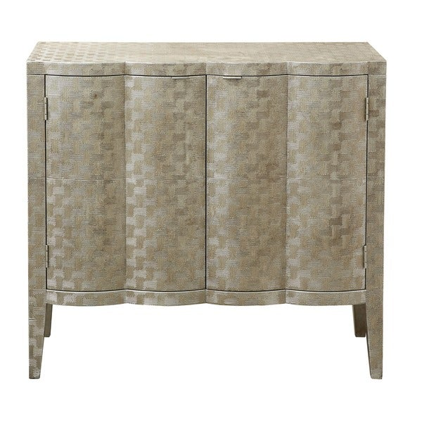Metallic Gold and Platinum Finish Metal Hand-painted Bar and Wine Cabinet