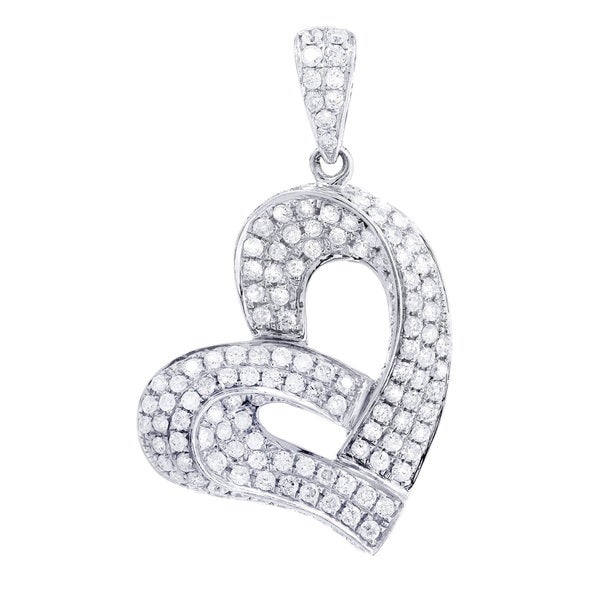 14k White Gold 1 1/5ct TDW Diamond Multi-Row Heart Pendant
