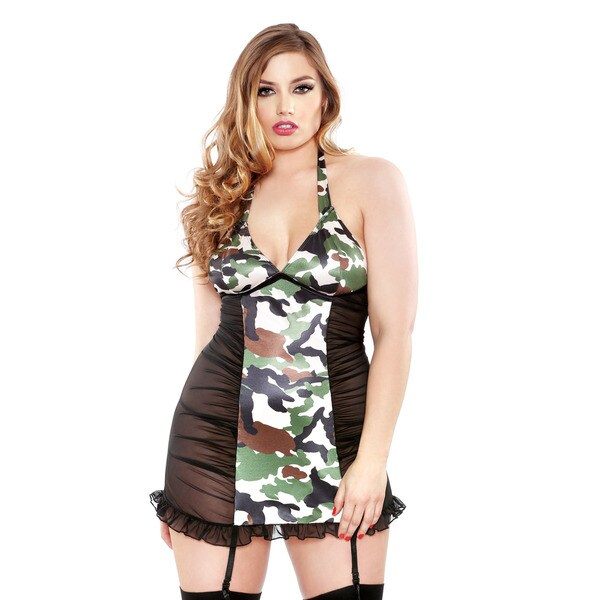 Fantasy Lingerie Women's Camo Polyester/Spandex Plus-size Shirred Halterneck Chemise with G-string