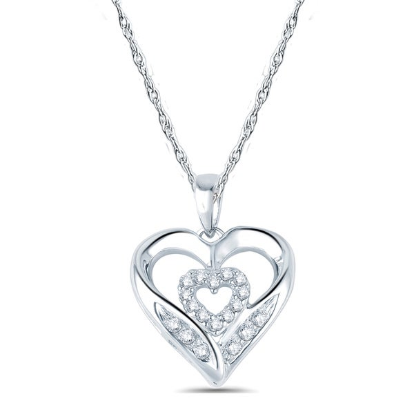 10k White Gold 1/10ct TDW Diamond Double Heart Layer Pendant Necklace (I1-I2 ,H-I )