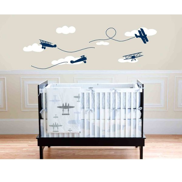 Owl Hills Wall Stickers: Biplanes - Navy Blue