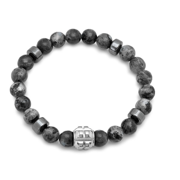 Stainless Steel and Grey Agate Beaded Bracelet
