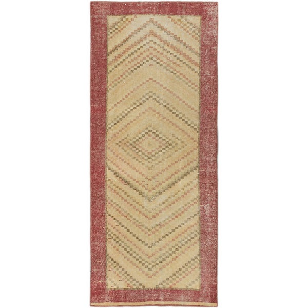 Ecarpetgallery Anatolian Revival Cream, Pink Wool Open Field Rug Runner (2'8 x 6'5)