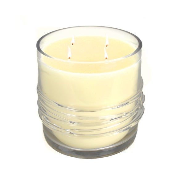 Brunei Wax Candle with Clear Glass Candle Holder