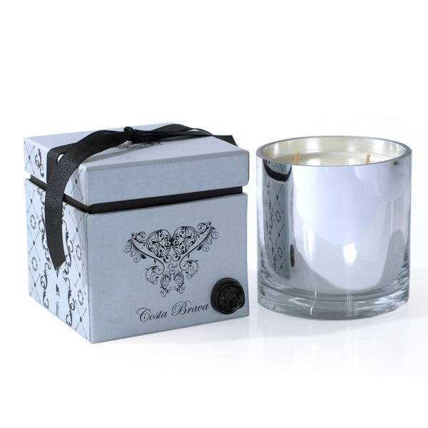 Costa Brava Oak Wax Candle with Mercury Glass Holder and Carton Box