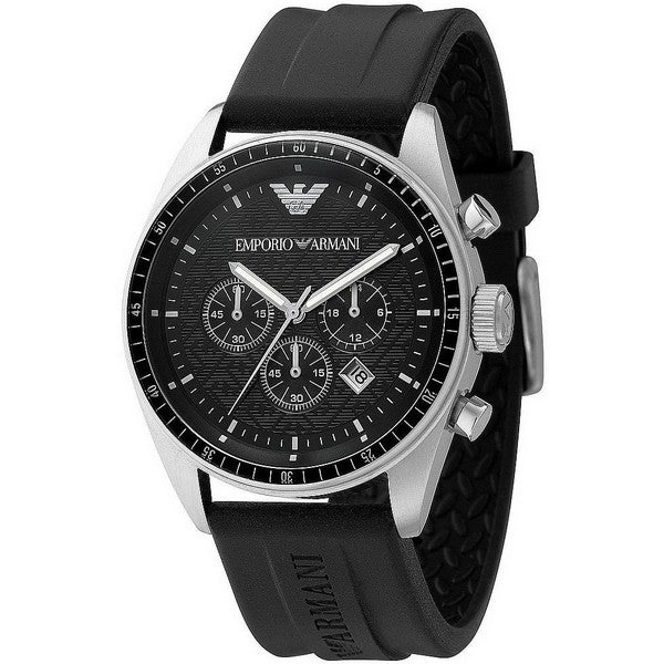 Emporio Armani Black Rubber Strap and Stainless Steel Men's Chronograph Watch