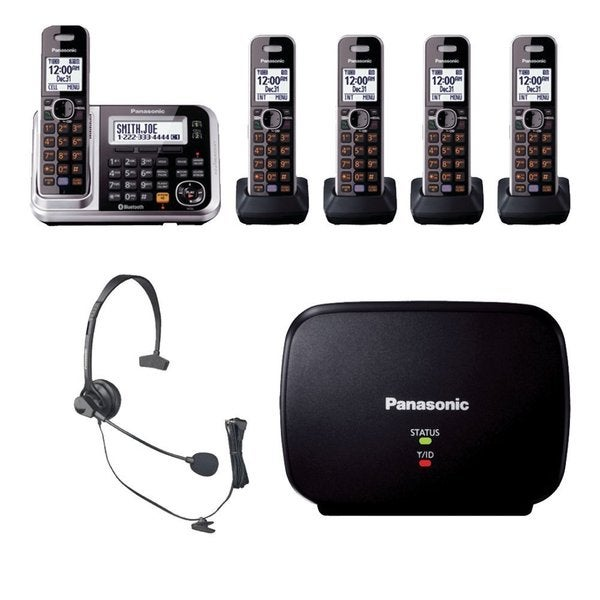 Panasonic KX-TG7875S Bluetooth Enabled Phone w/ KX-TG680S DECT 6.0 Cordless Telephone, Headset & Range Extender