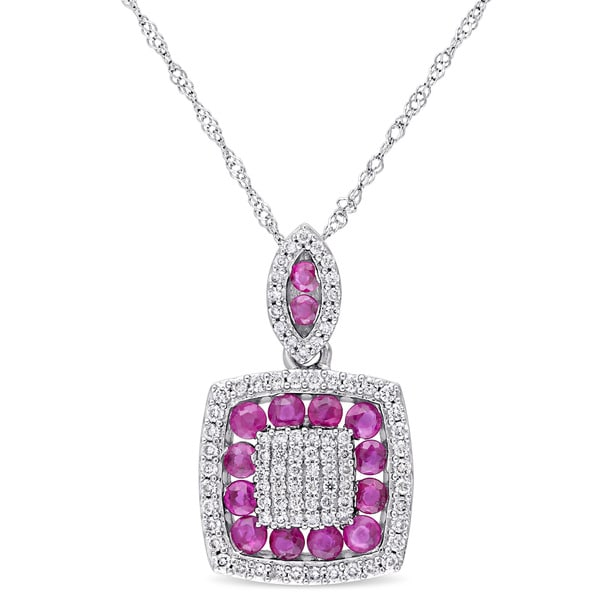 Miadora Signature Collection 14k White Gold 1/3ct TDW Diamond and Ruby Square Cluster Necklace (G-H, SI1-SI2)