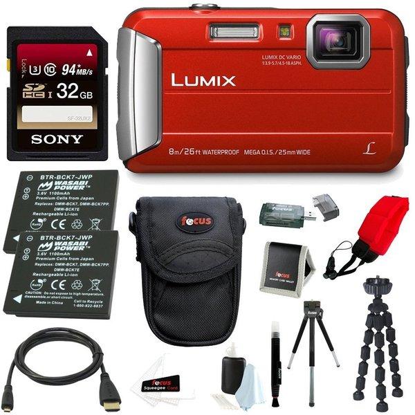 Panasonic DMC-TS30R LUMIX Tough Camera (Red) +32GB U3 SDHC + 2 Extra Batteries