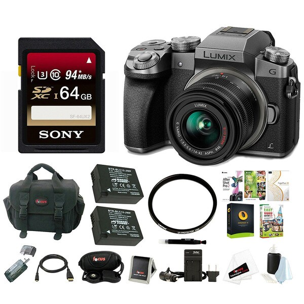 Panasonic LUMIX G7 Camera with 14-42mm Lens (Silver) Professional Photography Bundle 22259500