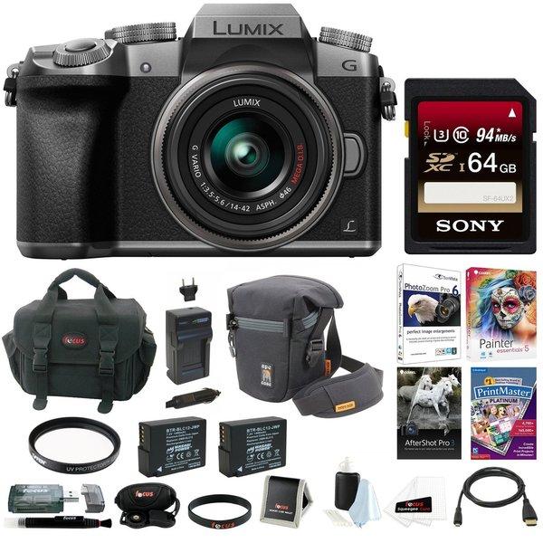 Panasonic LUMIX G7 Camera with 14-42mm Lens (Silver) w/ 64GB SD Card Bundle 22259824