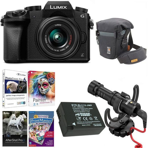 Panasonic LUMIX G7 Digital Camera with 14-42mm f/3.5-5.6 Lens c& Rode On- Camera Microphone Accessory Bundle