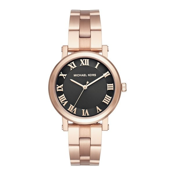 Michael Kors Women's MK3585 Norie Black Dial Rose Gold-Tone Stainless Steel Bracelet Watch