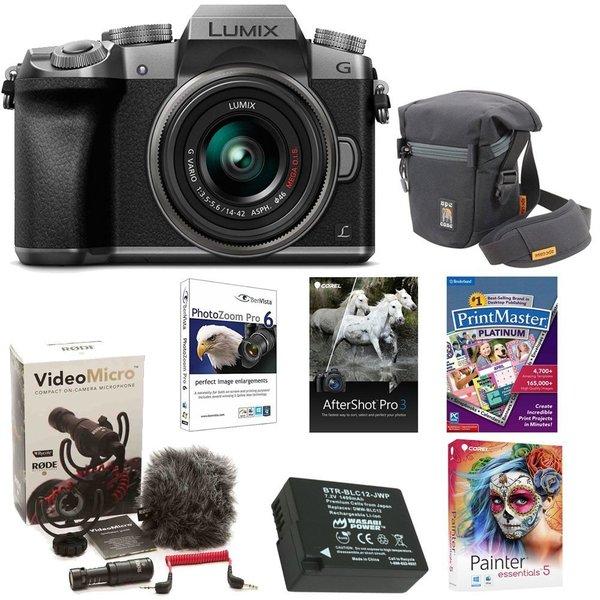 Panasonic LUMIX G7 Interchangeable Lens (DSLM) Camera w/ 14-42mm Lens (Silver) & Camera Mic & Accesory Bundle 22259839