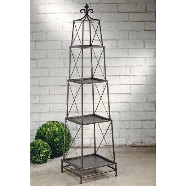 4-tier Black Metal Obelisk Stand