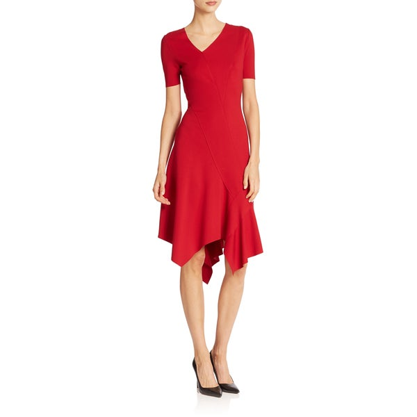 Elie Tahari Women's Dariah Red Nylon and Viscose Handkerchief Hem Dress -  Fashion Habits LLC, ET-Dariah