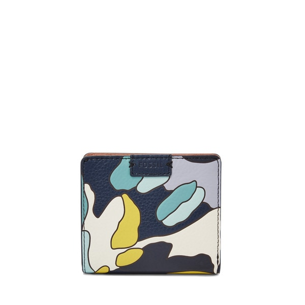 Fossil Emma Blue and Multicolor Leather RFID Mini Wallet