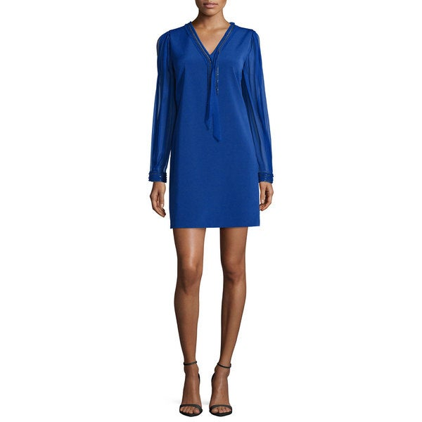 Elie Tahari Pencey Blue Long Sleeve Dress